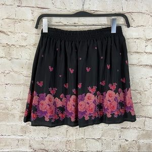 Heritage 1981 black floral skater skirt medium